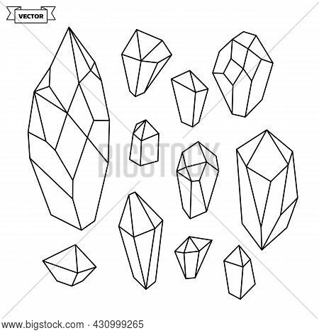 Set Of Vector Linear Icons. Collection Of Minerals And Natural Crystals. Simple Illustration.