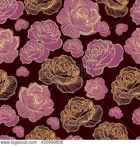Abstract Elegance Seamless Floral Pattern. Beautiful Flowers Vector Illustration Texture With Pink A