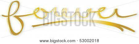 Forever word in golden tones