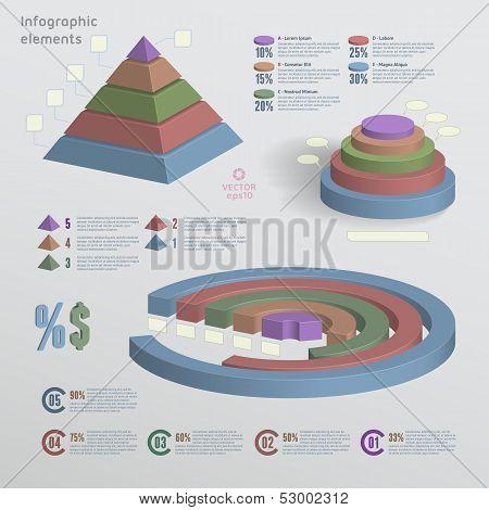 Color 3D Infographic Elements