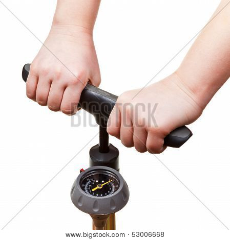 Pumping By Manual Air Pump With Pressure Indicator