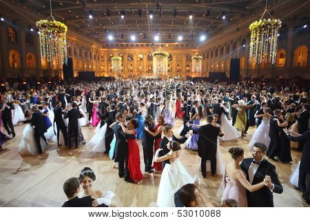 MOSCOW - MAY 25: Beautiful people whirling in the dance at 11th Viennese Ball in Gostiny Dvor on May 25, 2013 in Moscow, Russia.