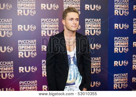 MOSCOW - MAY 25: Vlad Sokolovsky in jacket on Russian Music Award channel RUTV in Crocus City Hall on May 25, 2013 in Moscow, Russia.
