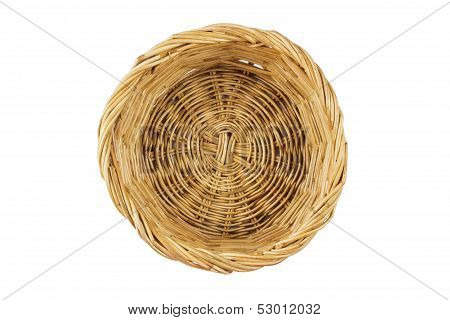 Brown wicker basket with clipping path