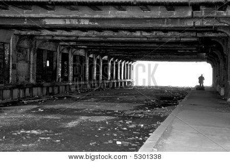 Homeless People Under Bridge