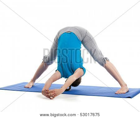 Yoga - young beautiful woman yoga instructor doing Wide Legged Forward Bend C pose (Prasarita Padottanasana C) exercise isolated on white background poster
