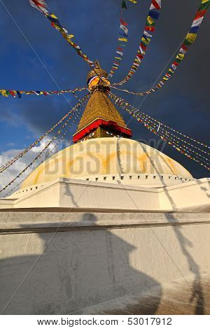 Boudhanath Buddhist stupa in late afternoon lights. Kathmandu, Nepal. Bodnath is the biggest Buddhist stupa of the entire World. poster