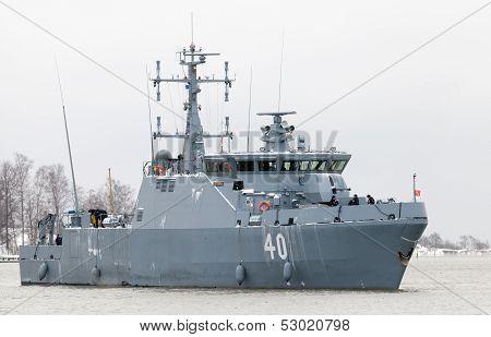 Helsinki, Finland - December 2012: Katanpaa Class Mine Countermeasure Vessel Enters The Port Of Hels