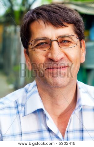 Smile Of One Mature Happy Businessman Outdoor