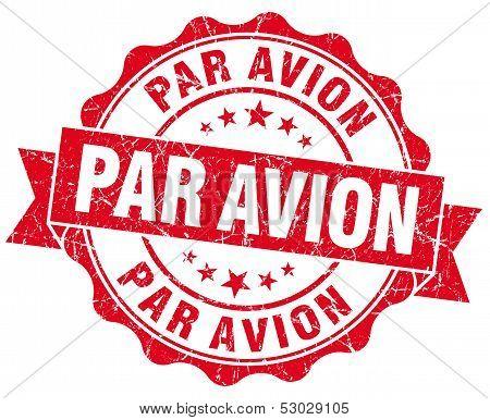 Par Avion Grunge Round Red Seal