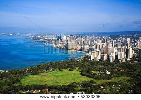 View of downtown Honolulu and Waikiki from Diamond Head Crater Summit, Hawaii
