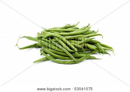 Fresh Green Stick beans on white background