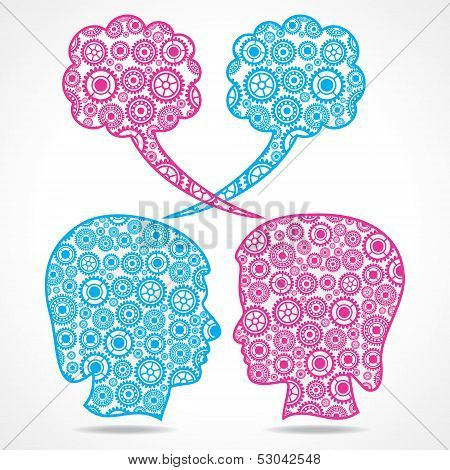 Group of gears make a male and female face stock vector