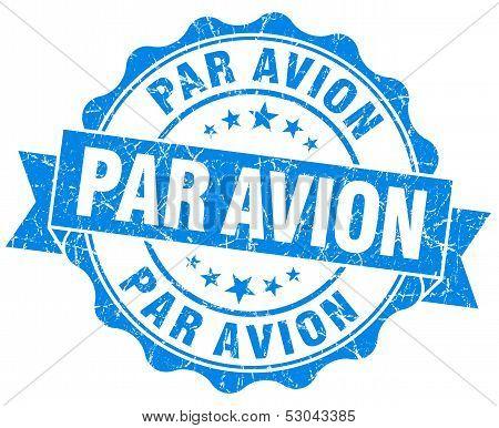 Par Avion Grunge Round Blue Seal