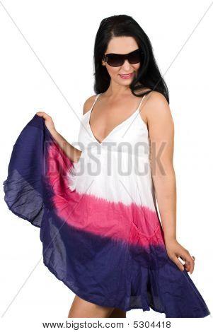 Woman I N Summer Dress With Sunglasses