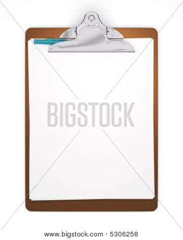 Isolated Blank Clipboard With Pen