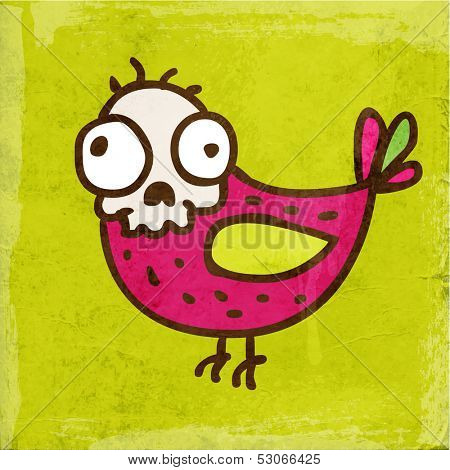 Cartoon Skeleton Bird. Cute Hand Drawn Vector illustration, Vintage Paper Texture Background poster