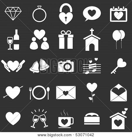Wedding Icons On Black Background