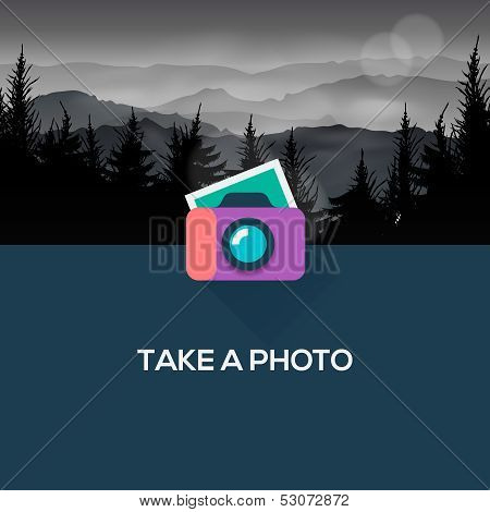 Photo camera web icon flat design