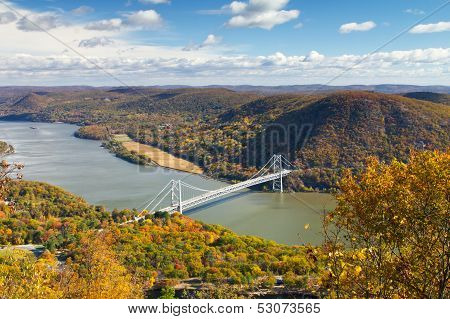 Bridge Over The Hudson River Valley In Fall