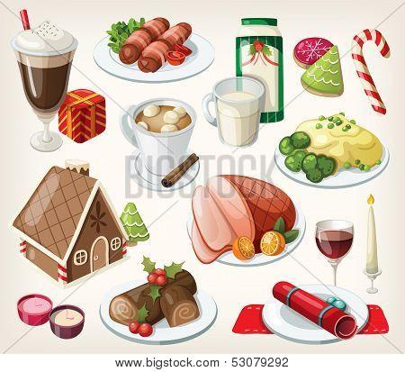 Set of traditional christmas food and desserts
