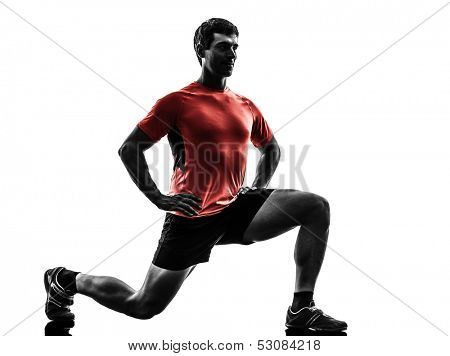 one  man exercising fitness workout lunges crouching  in silhouette  on white background