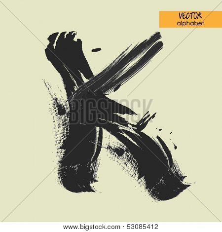 art sketched stylization alphabet in vector, black grungy font, sign K