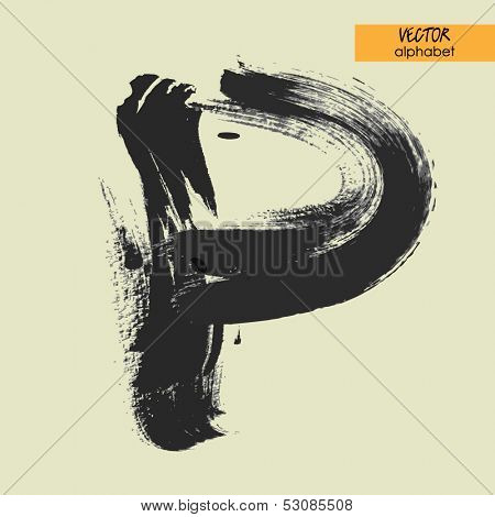 art sketched stylization alphabet in vector, black grungy font, sign P