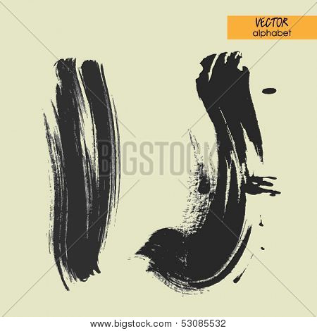 art sketched stylization alphabet in vector, black grungy font, signs I and J