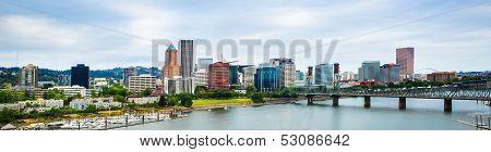 Panorama Of Downtown Portland, Oregon Skyline
