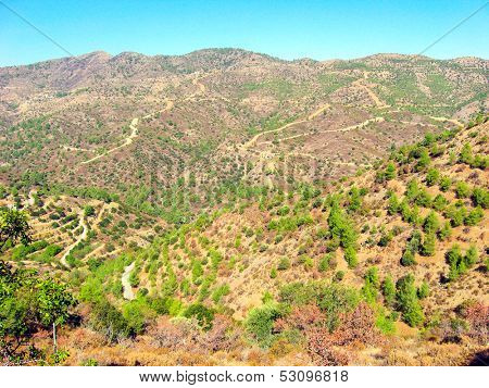 Perspective view from sacrosanct mountains of Pentadactylos, Cyprus
