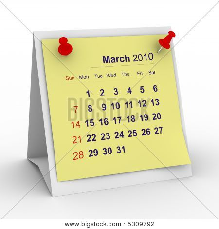 2010 Year Calendar. March. Isolated 3D Image