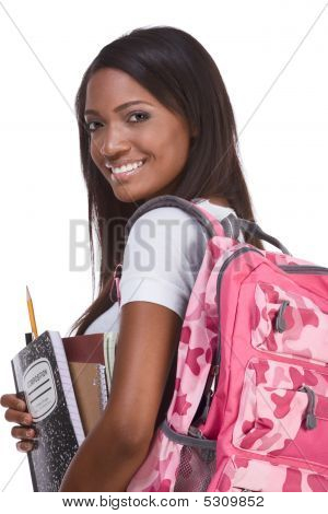 Colegio estudiante joven afroamericano