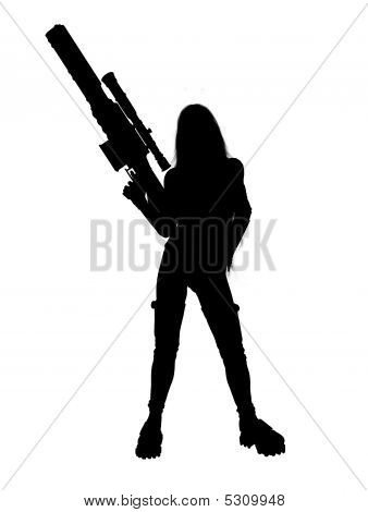 woman holding gun image photo free trial bigstock
