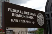 Sign for the Denver branch of the Federal Reserve Bank poster