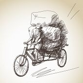 Sketch of cycle rickshaw delivery poster