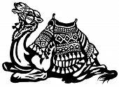 lying camel with saddle black and white illustration poster