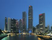 the skyline of Singapore and the financial district at night poster