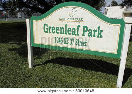 Greenleaf Park Sign