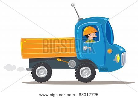 Funny worker in orange helmet with small nice (orange with blue) truck poster