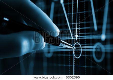 Hand en de aanwijzer van Pen, grafiek