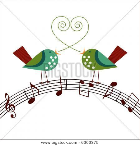Whimsical Birds Singing Over Musical Notes  heart in shape of dotw between them poster