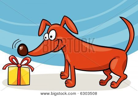 cartoon vector illustration of dog sniffing christmas gift poster
