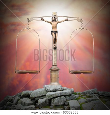 Weight scale with Jesus Christ on the peak. Divine justice and easter concept.