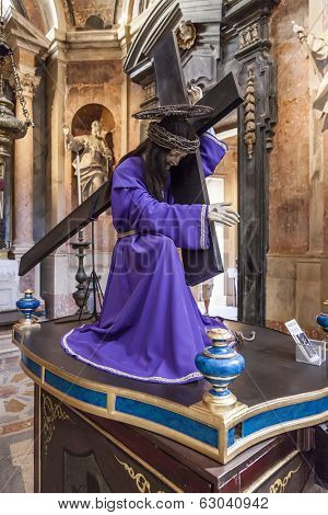 Mafra, Portugal - September 02, 2013: Statue of Jesus Christ with the Thorns Crown during the Passion from an Easter processional paso. Mafra National Palace.