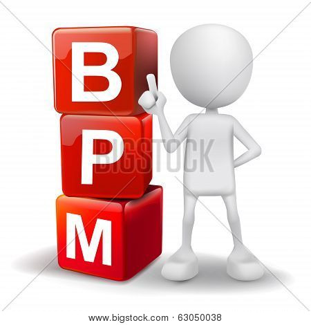 3D Illustration Of Person With Word Bpm Cubes