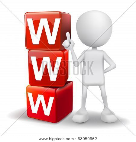3D Illustration Of Person With Word Www Cubes