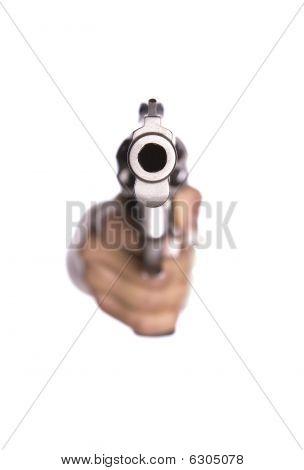 Looking Down Barrel Of Gun