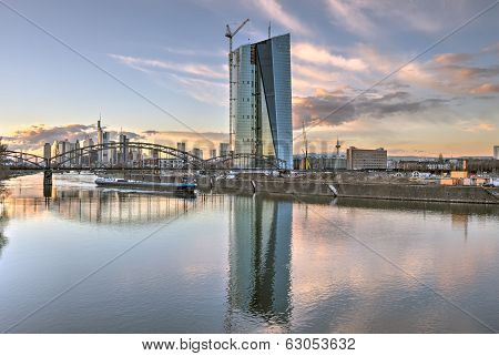 The Frankfurt Skyline behind the Deutschherrnbruecke (Railway Bridge) with the new European Central Bank HQ under construction. poster