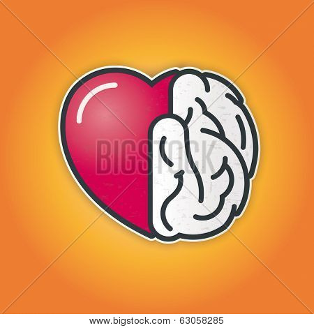 Connection of heart and brain. Vector icon of heart and brain symbiosis. poster